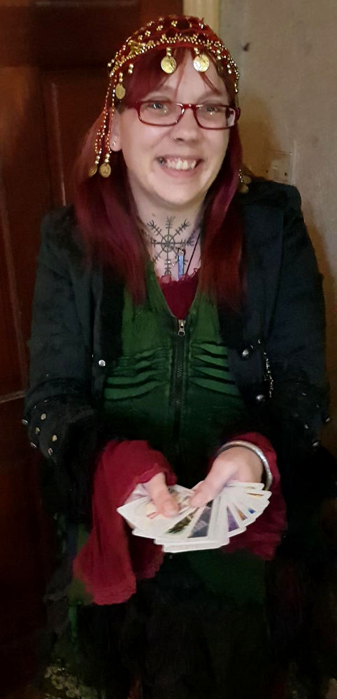 """Hedvig Starhawk for hire tarot palmistry reader spiritualevents.co.uk"