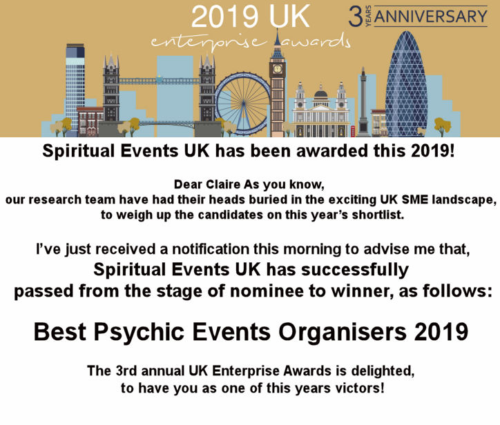 1 WINNER BEST PSYCHIC EVENTS 2019 SPIRITUALEVENTS.CO.UK
